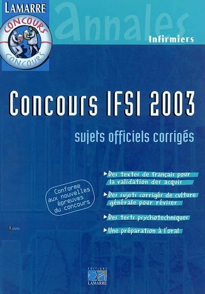 Concours IFSI 2003