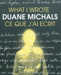 Ce que j'ai écrit = What I wrote