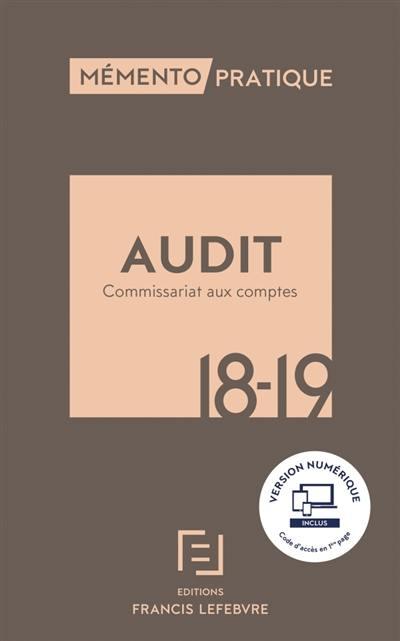 Livre Audit Commissariat Aux Comptes 2017 2018 Ecrit Par Editions