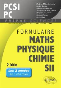 Formulaire maths, physique, chimie, SII