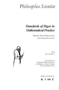 Philosophia scientiae. n° 18-1, Standards of rigor in mathematical practice