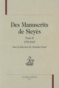 Des manuscrits de Sieyès. Volume 2, 1770-1815